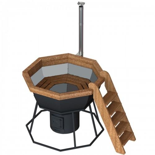 Банный чан - 8 граней на подставке с печью из жаропрочной стали на 4-6 человек