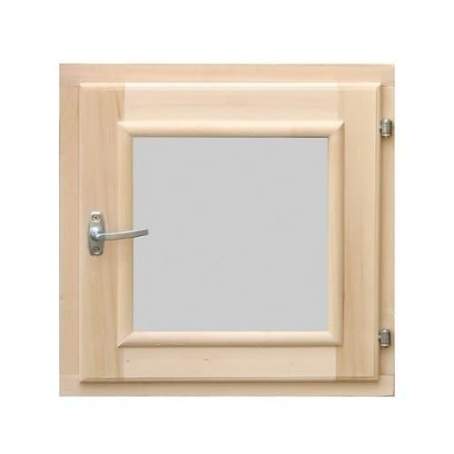 Деревянное окно для бани 300 × 300 миллиметров