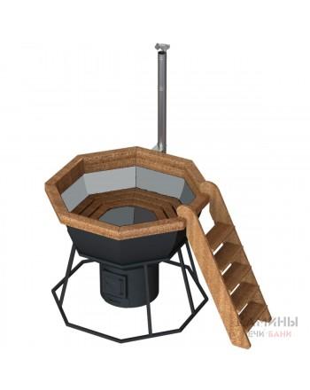 Банный чан 8 граней на подставке с печью жаропрочная сталь