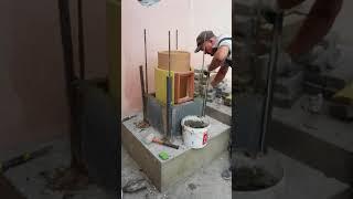 Монтаж керамического дымохода - начальный этап