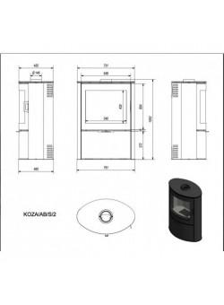Печь-камин Kratki Koza/AB/S/2 (сталь)