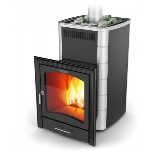 Дровяная печь для бани Термофор Калина Carbon, Inox Витра