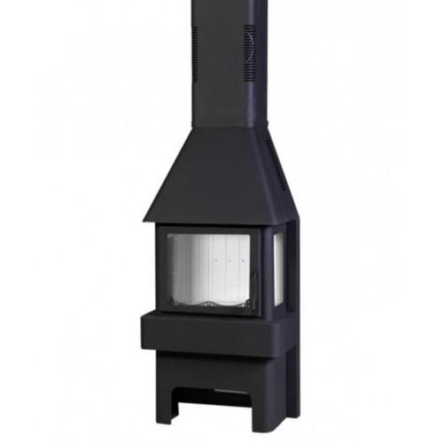 печь-камин «Бавария» 3 стекла черная