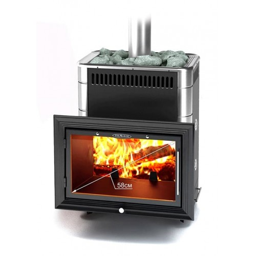 Дровяная печь для бани Термофор Витрувия Carbon, Inox