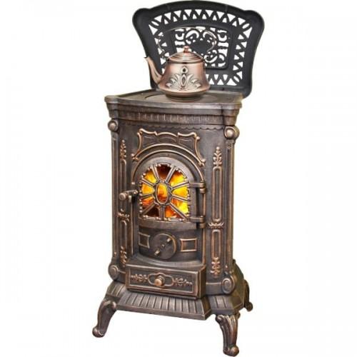 Печь-камин LK AMBRA Bronze из чугуна для дома и дачи