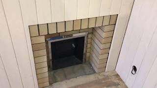 Установки банной печи с порталом из шамотного кирпича.