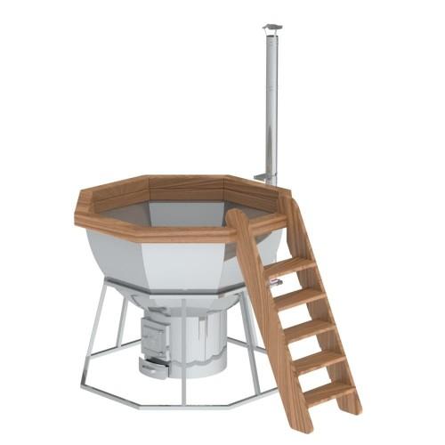 Банный чан - 8 граней на подставке с нержавеющей стали и печью на 6-8 человек