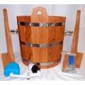 Обливное устройство для бани 16 л дубовое со вставкой из нержавейющей стали