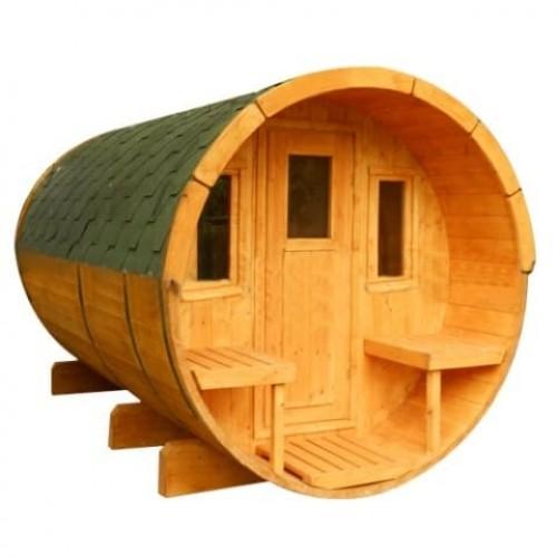 Круглая баня-бочка с козырьком 3 метра