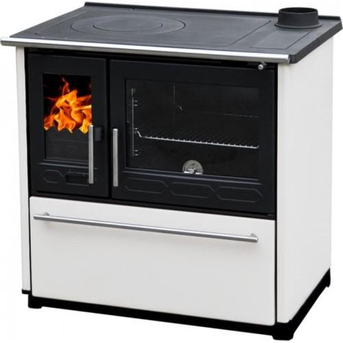 Отопительно-варочная печь Plamen 850 Glas белый цвет