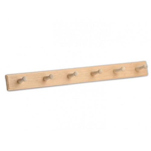 Деревянная вешалка прямая на шесть крючков для бани и сауны